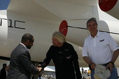Sir Richard Branson and Mohammed Al-Husseiny with Burt Rutan. Credit Mark Greenberg