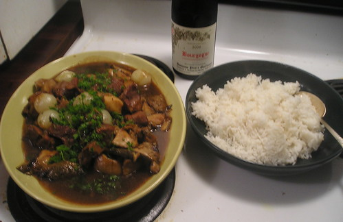 Veal Stew with Fresh Porcini and Onions, Steamed Rice