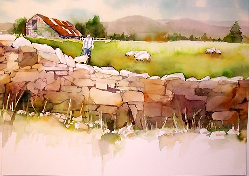 Stone Wall watercolor