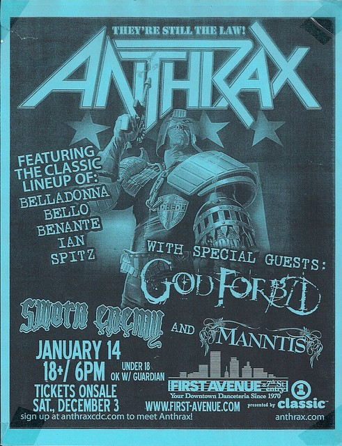 01/14/06 Anthrax/God Forbid/Sworn Enemy/Manntis @ Minneapolis, MN (Ad)