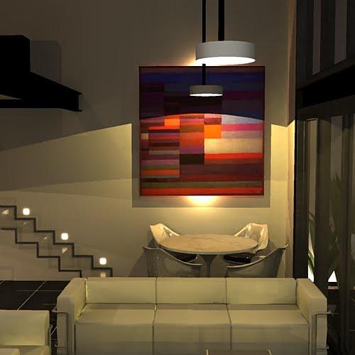 loft  sala de estar e jantar (quadro Paul Klee) e iluminação da
