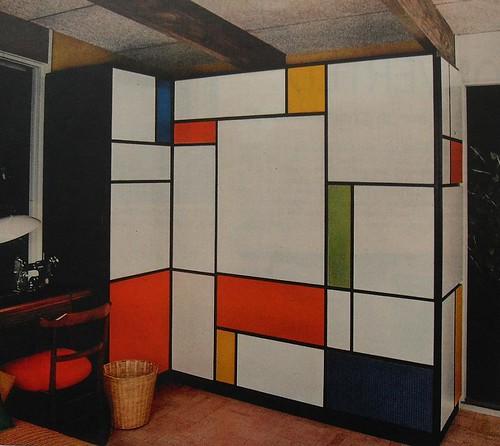 1960s Mondrian Desk Flip Down Foldout Bold Solid Color