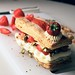 strawberry mille feuille : pistachio + white chocolate cream + vanilla bean creme patissiere