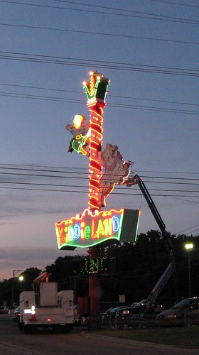 Chicago's Kiddieland Amusement Park neon sign being serviced. Melrose Park Illinois. August 2009. by Eddie from Chicago