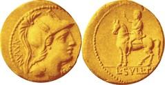 RRC 381/1 Aureus Roma A MANLI AFQ, equestrian statue L SVLLA FELIX DIC