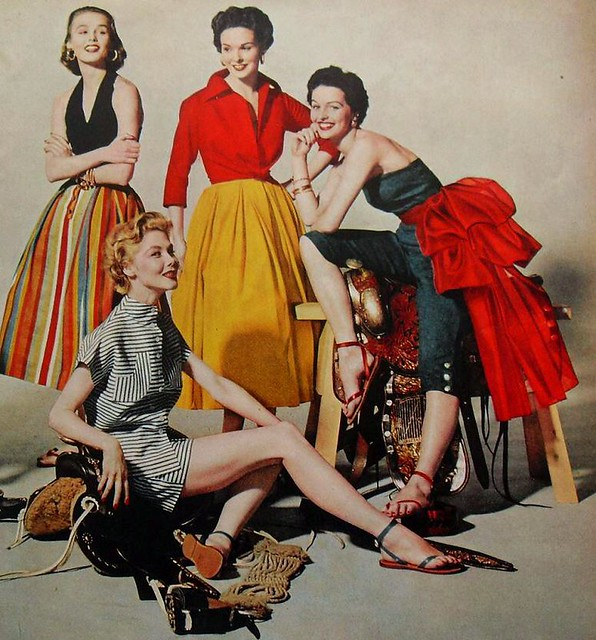 1950s fashion photograph women in skirts, pants and shorts