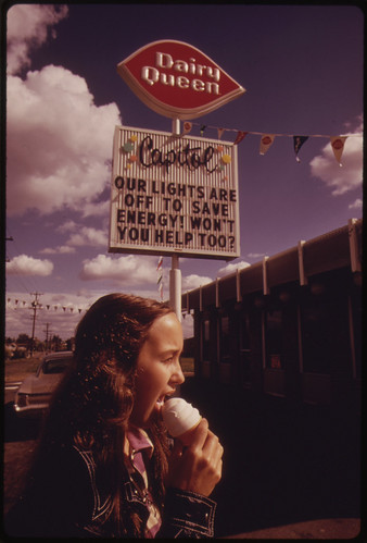 After the Oregon Governor Banned Neon and Commercial Lighting Displays, Firms Used Their Unlit Signs to Convey Energy Saving Messages Which Could Be Seen During the Day. The Sign Was in Portland 10/1973