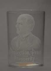 """McKinley """"Protection, Peace, Prosperity"""" Portrait Drinking Glass, ca. 1896"""