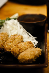 fish(0.0), produce(0.0), meal(1.0), tonkatsu(1.0), panko(1.0), fried food(1.0), meat(1.0), food(1.0), dish(1.0), cuisine(1.0),
