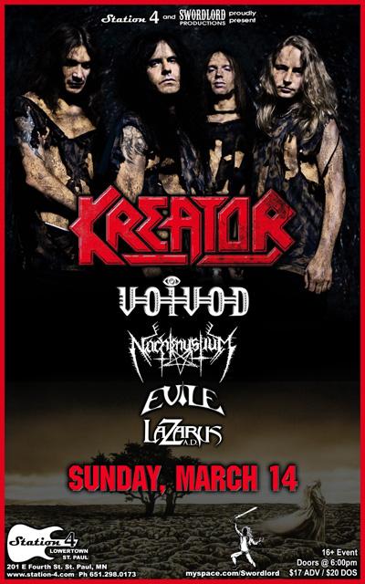 03/14/10 Kreator/Voi Vod/Nachtmystium/Evile/Lazarus A.D. @ St. Paul, MN (Poster)