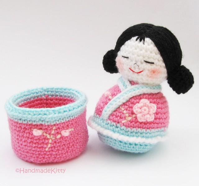 Japanese Amigurumi Doll Patterns : Japanese kokeshi girls jewelry box Amigurumi Crochet ...