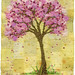 Blossom Tree on Yellow, embroidery art