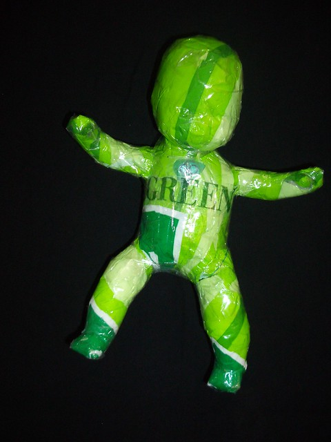 recycled green plastic bag tape art doll baby by Ruby Re-Usable 2010 026