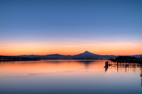 sunset reflection vancouver oregon sunrise portland washington clear columbiariver mthood hdr photomatix canoneos7d