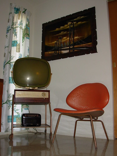 "Guest Bedroom - Philco Predicta (WORKS!), Velvet Bridge Painting, Red ""Orange Slice"" Chair"