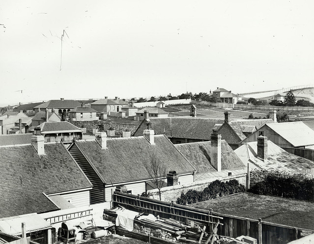 View of house rooftops