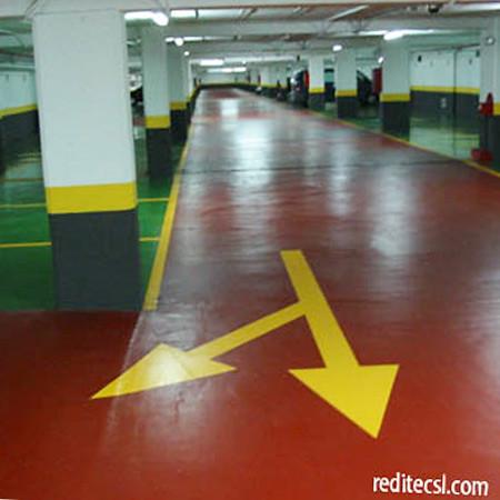 Reditec pavimentos continuos garajes resinas sistema de - Pintura suelo parking ...