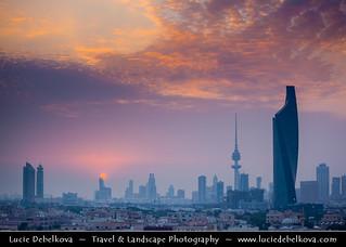 Kuwait - Sunset Over New Kuwait City Skyline