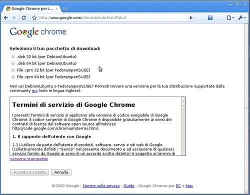 Google Chrome Beta for Linux - seleziona il pacchetto