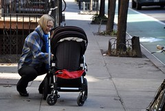 vehicle, baby carriage, street, sitting,