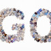 The word Go made from jigsaw puzzle pieces