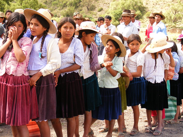 Bolivian girls in traditional clothes