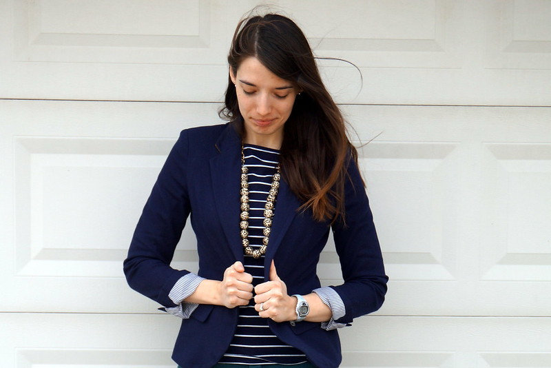 navy stripes and green pants