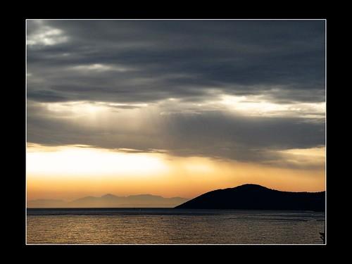 sea sun storm clouds sunrise landscape bay hellas greece cloudscape ionian agiaefimia