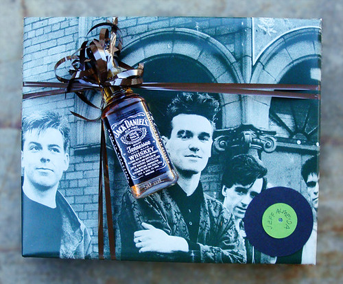 Gift wrap made out of vintage poster of The Smiths