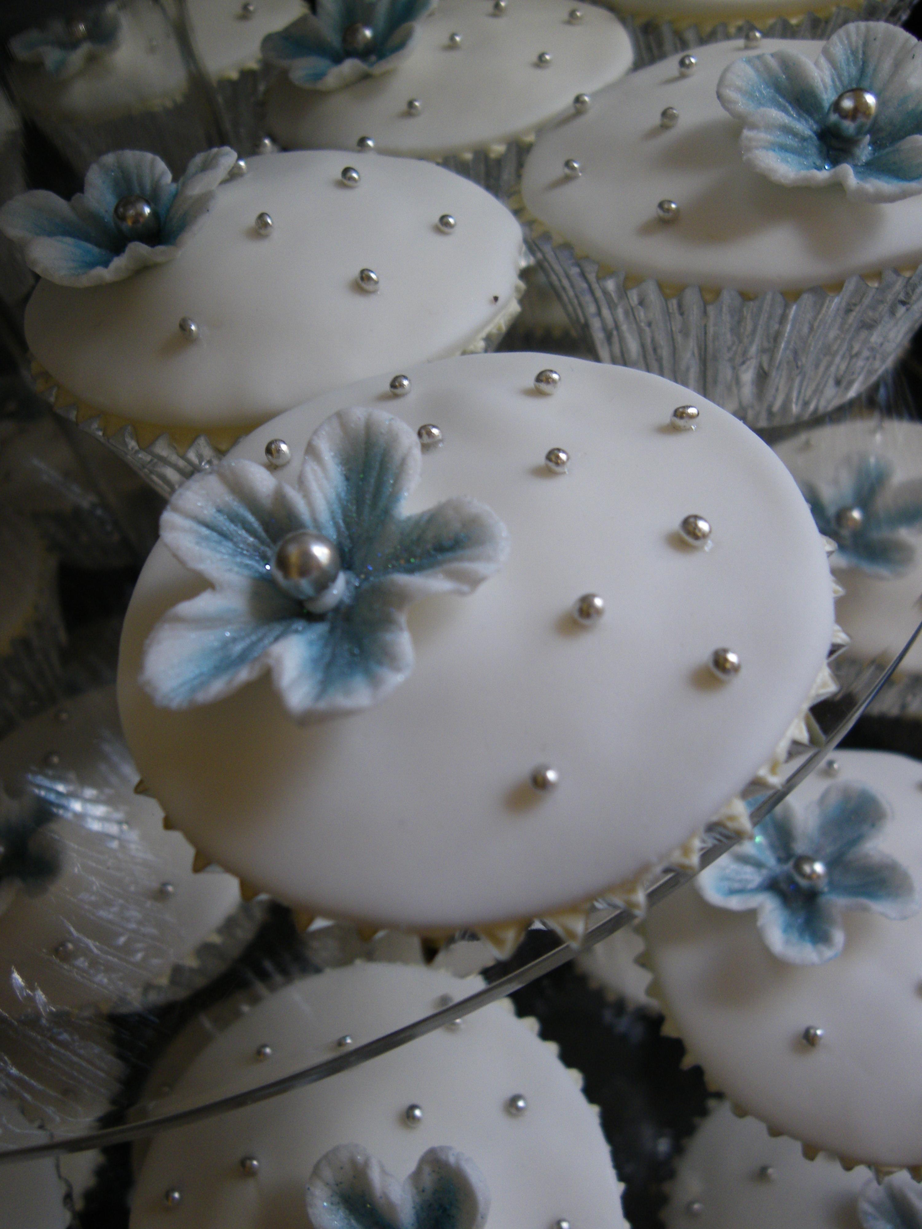 Blue White & Silver Wedding Cake