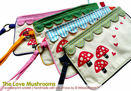 The Love Mushrooms {Wristlet}