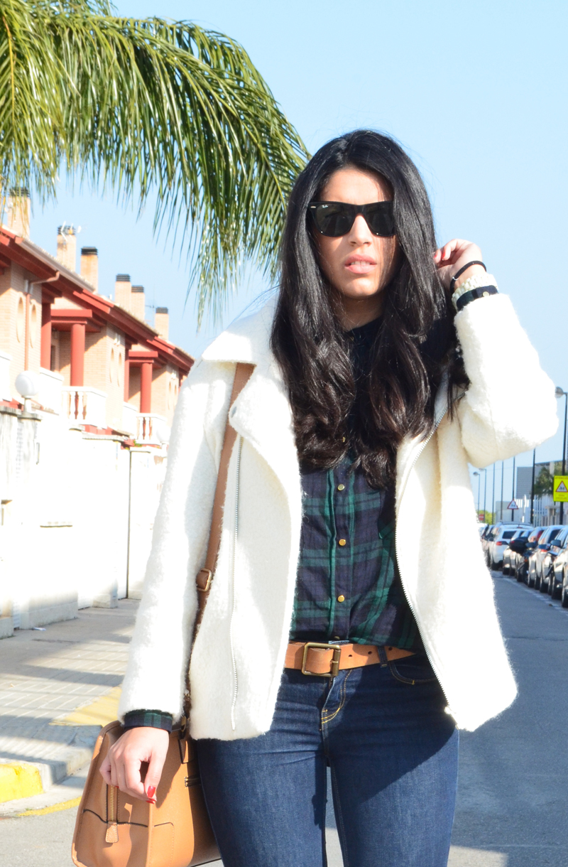 florenciablog chaqueta fieltro inspiration tartan cream jacket casual look bloggers gandia (2)