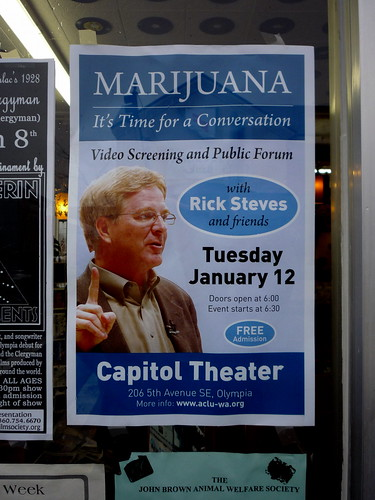 Jason Taellious' photo of a Rick Steves poster.