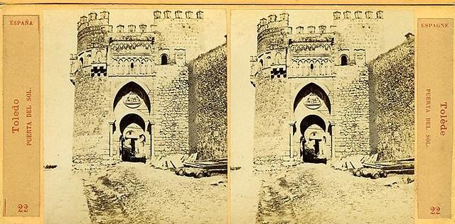 Vista estereoscópica de la Puerta del Sol hacia 1860 por E. Làmy