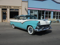 automobile, automotive exterior, 1955 ford, vehicle, antique car, sedan, classic car, land vehicle, luxury vehicle,