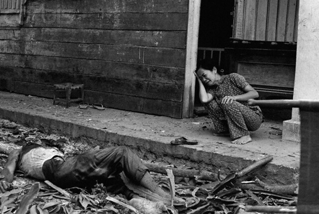 1975-Tay Ninh, South Vietnam: A South Vietnamese woman cries over the death of her husband after Communist rockets hit this city some 50 miles northwest of Saigon.  Shelling of Tay Ninh resumed over the past three days after a 15-day pause.  Many families