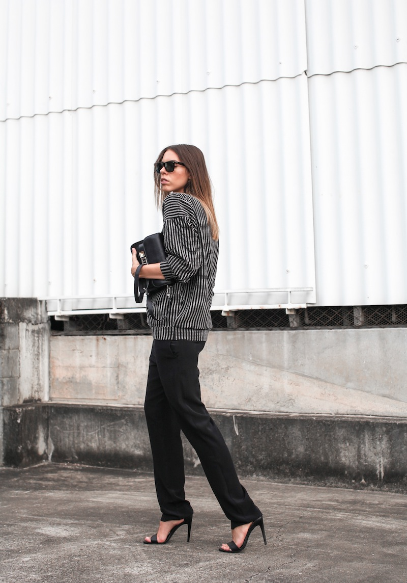 modern legacy fashion blog australia minimalist monochrome street style Topshop Boutique sweatshirt Saba silk straight leg pants Tibi heels Proenza Schouler PS11 Mini Satchel bag Ray Ban oversized wayfarers (1 of 5)