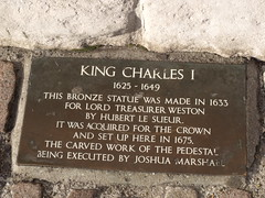 Photo of Charles I, Hubert Le Sueur, Richard Weston, and Joshua Marshall bronze plaque