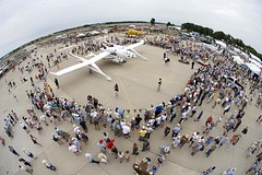 WhiteKnightOne and SpaceShipOne, EAA Airventure, Oshkosh. Credit Jim Koepnick