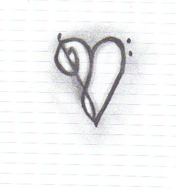 Treble Bass clef heart Isnt it cool I drew it in class today