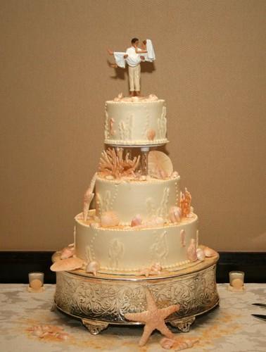 Beachy Wedding Cake Cake by Julie Moncrief