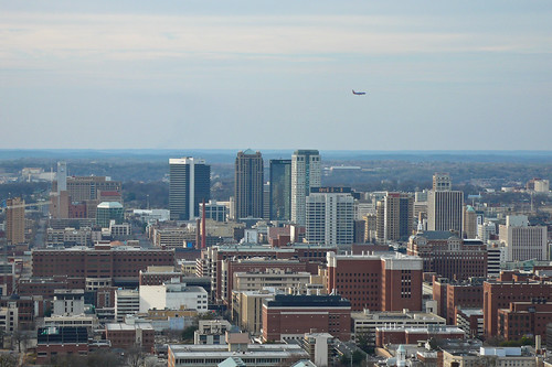 Birmingham skyline with plane