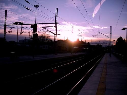 sunset station clouds railway larisa