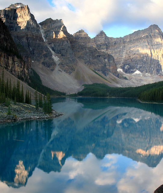 Vertically stitched photo of the mountains reflected on Moraine Lake and Valley of Ten Peaks in Banff National Park (view on large)