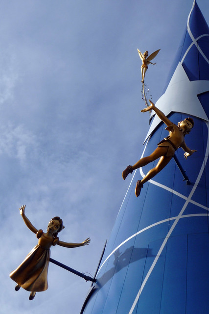 Peter, Wendy and Tink on the Art of Disney Animation building