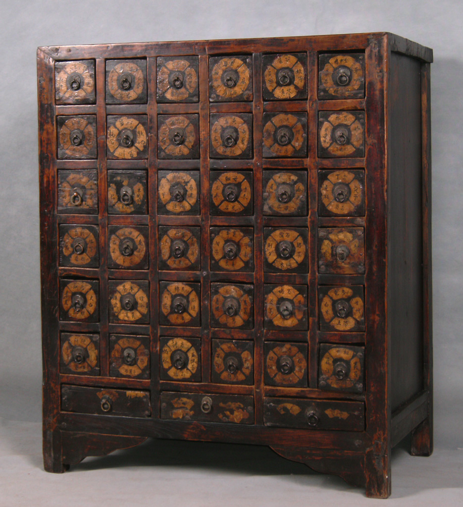 Li9037 antique chinese apothecary herb cabinet a photo for Antique asian cabinet