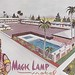 Magic Lamp Motel postcard Anaheim CA illustration by hmdavid