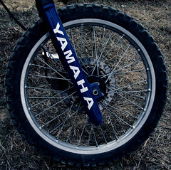 automotive tire(0.0), bicycle racing(0.0), road bicycle(0.0), bicycle motocross(0.0), sports(0.0), freeride(0.0), cyclo-cross bicycle(0.0), tarmac(0.0), tire(1.0), wheel(1.0), vehicle(1.0), sports equipment(1.0), rim(1.0), bicycle wheel(1.0), bicycle frame(1.0), bicycle(1.0), spoke(1.0),