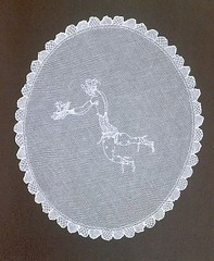 dishware(0.0), platter(0.0), tablecloth(0.0), circle(0.0), porcelain(0.0), art(1.0), textile(1.0), doily(1.0),