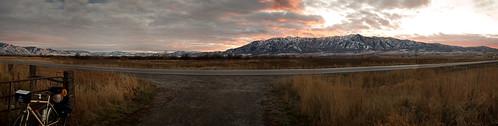 camping winter sunset mountains landscape utah panoramic logan bicycletouring bicycletour wintertour adventurebrothers raleighsojourn